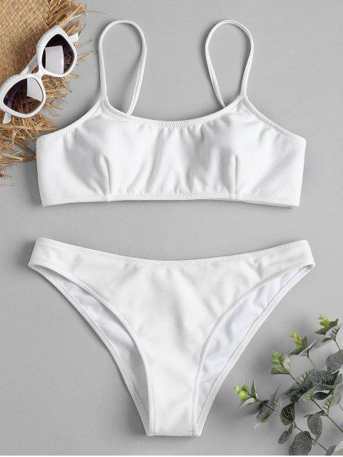 women's Spaghetti Straps Ribbed Texture Bikini - WHITE M Mobile