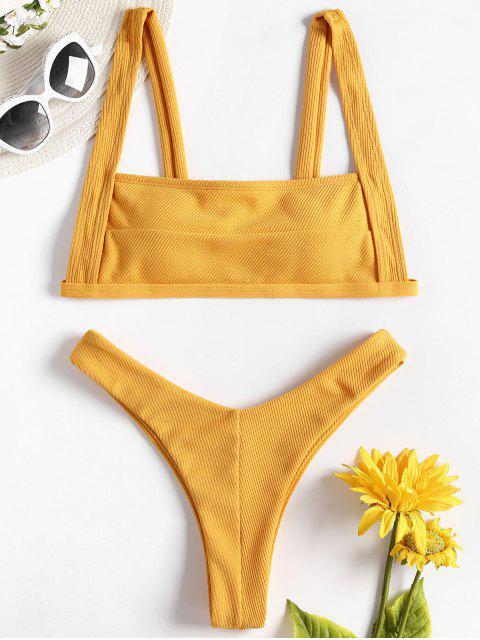 Bikini Taille Haute à Nervures et Encolure Dégagée - Jaune d'Abeille S Mobile