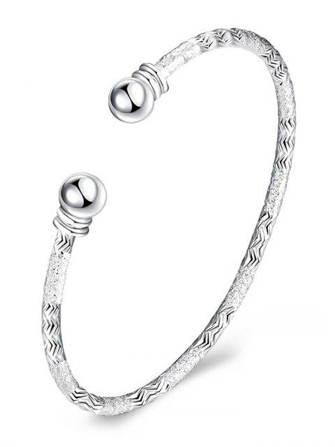 women's Sterling Silver Grind Bangle Cuff Bracelet - SILVER  Mobile