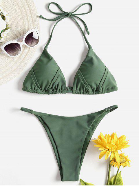 Bikini con cordón y cadena halter - Verde Marrón Claro L Mobile