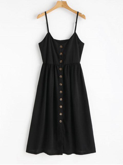 trendy Cami Button Up Casual Dress - BLACK S Mobile