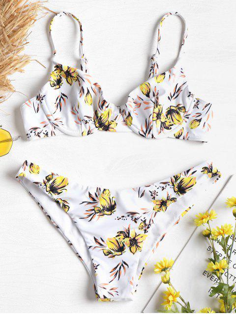 Bügel Blumen Druck Bikini - Gelb S Mobile
