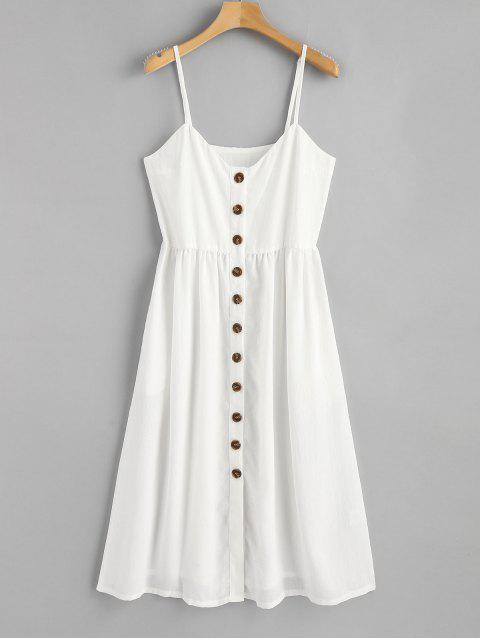 fancy Cami Button Up Casual Dress - WHITE S Mobile