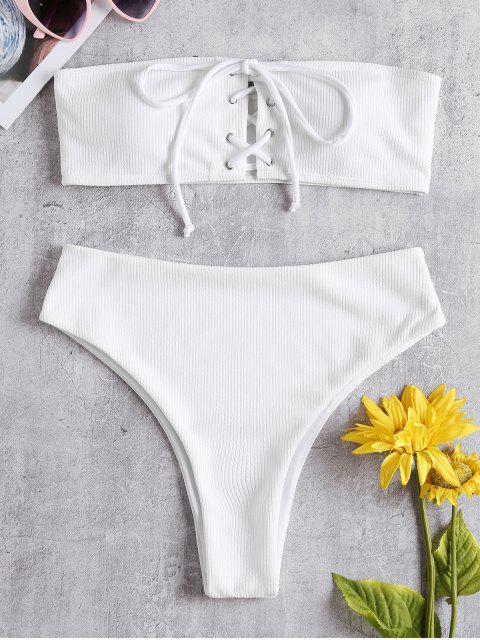 Ensemble de Bikini Côtelé à Taille Haute à Lacets - Blanc M Mobile