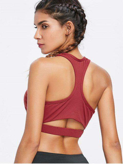buy Mid Impact Racerback Sports Bra - MAROON S Mobile