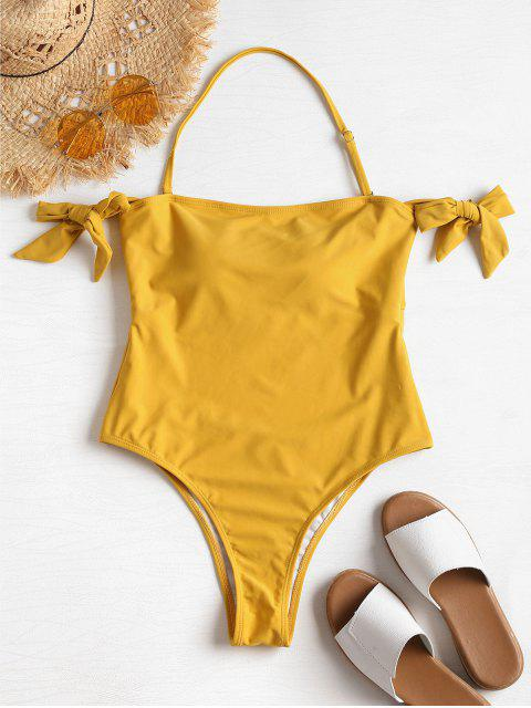 chic Cutout Tie Off The Shoulder Swimsuit - HARVEST YELLOW S Mobile