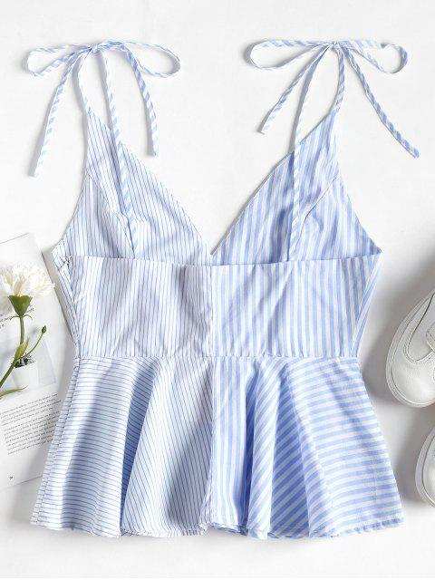 chic Contrast Striped Panel Peplum Cami Top - SEA BLUE M Mobile