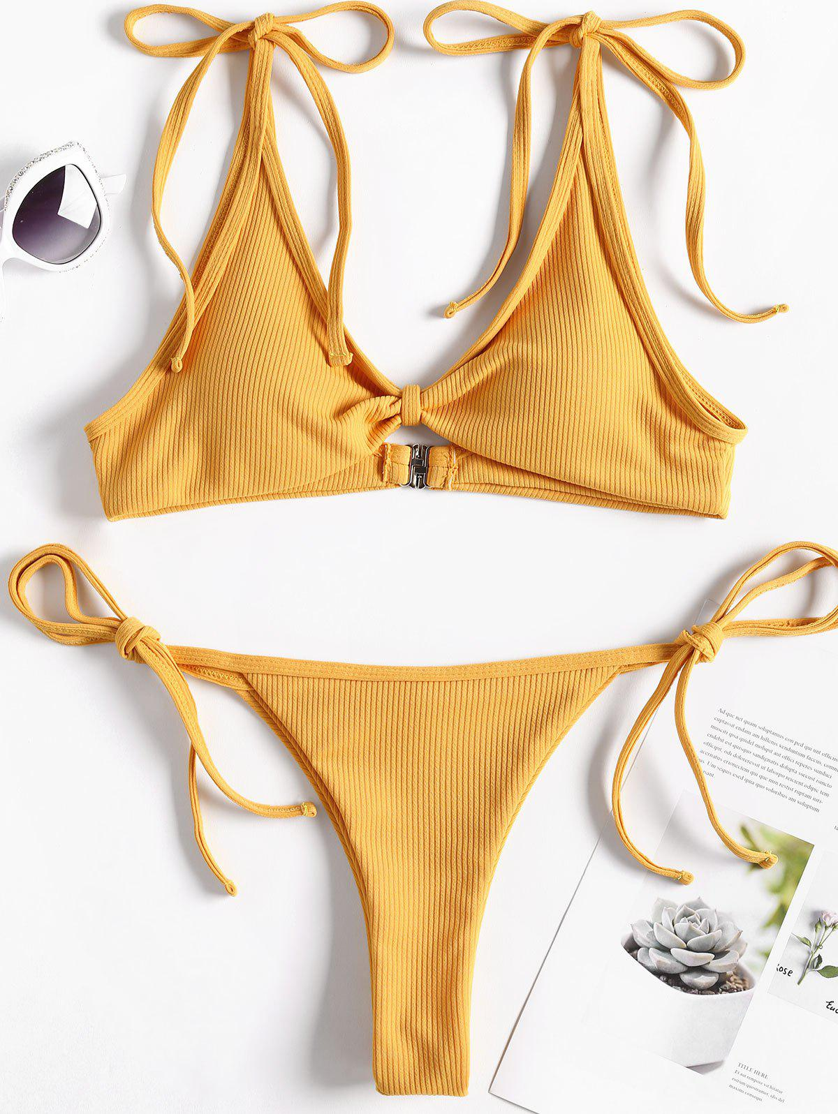 Ribbed Tie Shoulder String Bikini Set, Golden brown