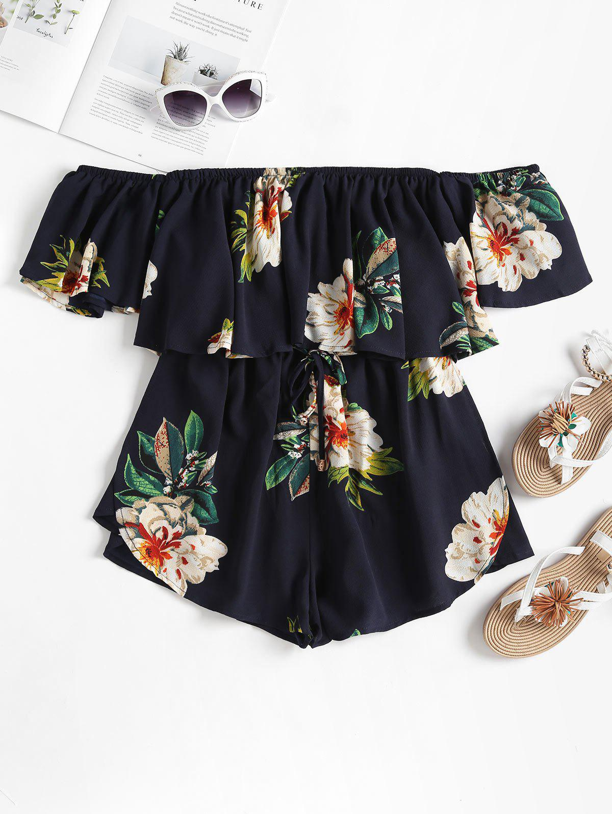 Floral Ruffle Off The Shoulder Romper 268997601