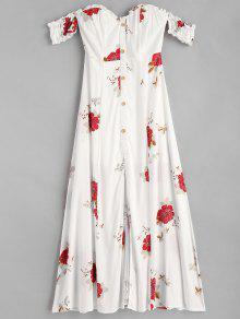 شق قبالة الكتف فستان زهري - أبيض L