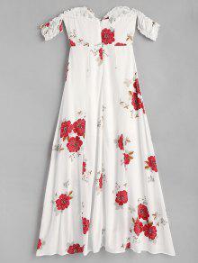 Vestido El Blanco Abertura L Floral Con En Hombro zfwzUaqF