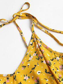 Estampado Con Brillante M Amarillo Verano Vestido De Floral qtE4xBS