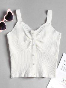 De Sin Cuello Perlado Con Mangas Blanco De Camiseta Punto Pearly YdqEBX
