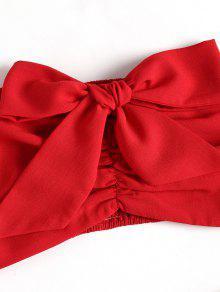 Con Con Y Conjunto Fruncido Pliegues Corto 243;n Pantal En M Top Rojo Lazo De El YxZ8Uqa