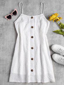 Shadow Stripe A Line كامي البسيطة اللباس - أبيض L