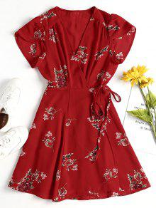 فستان قصير من الورود - Fire Fire Red L