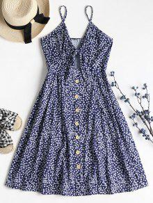 Tiny Floral Tie Front Cami Midi Dress - البحريه الزرقاء S