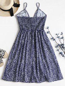 Frente Floral Minivestido Cami Midi De Con Lazo Marino Azul S A twE0fxtqr