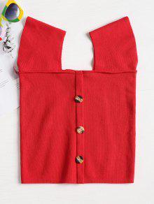 Botones Rojo S Cuello Cuadrado Top Contraste De De HaUrqHw