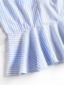 Top Contraste Rayas Azul A Panel Peplum Cami S Marino q6fSX6rw