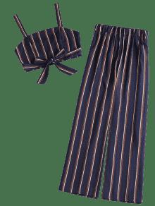 De Palazzo M Denim A Azul Crop Conjunto Juego Top Pants Oscuro Rayas De avnnp71WP