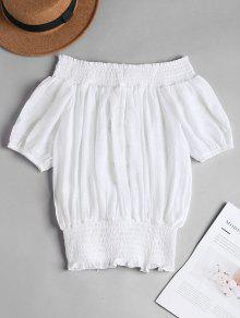 La Smocked Parte Superior Del Up Blanco De Lace S Hombro tFIq5vWx5w