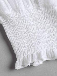 De Del Parte Hombro Lace Blanco Superior Smocked Up S La RI7qAYEn
