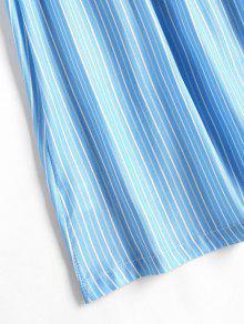 L 237;nea S Rayas Oscuro Mini Frente Azul En Vestido En Con El Cielo Contraste wqSRU1R