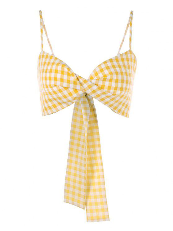 online Twist Front Gingham Cami Top - YELLOW L