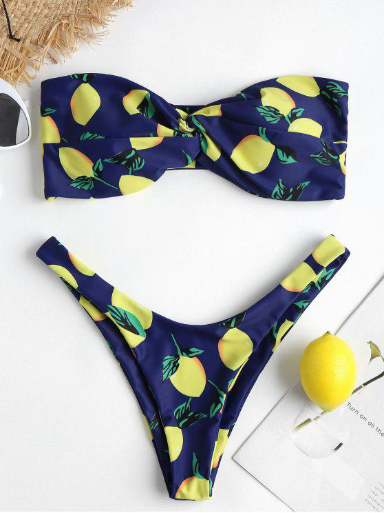 Bikini A Taglio Alto Con Stampa Limone - Blu  Marina M