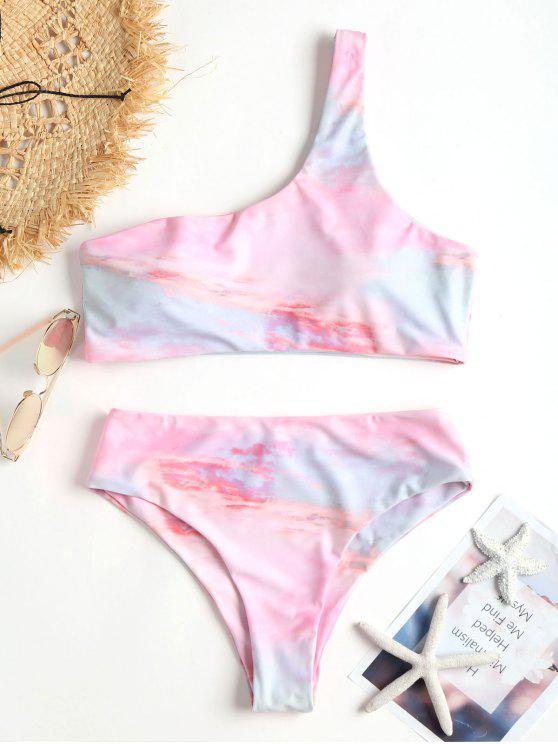 Tie Dye One Hombro Bikini - Rosa Luz L