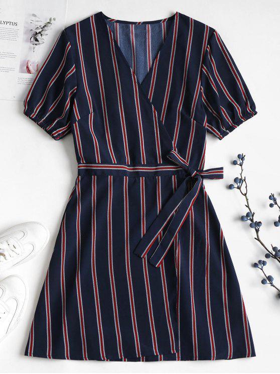 women Striped Chiffon Wrap Dress - DEEP BLUE L