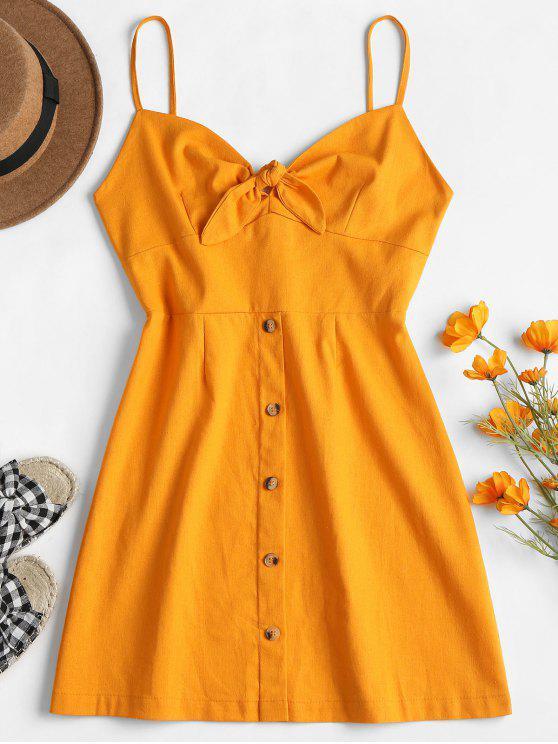 hot Tied Front Cami Dress - CANTALOUPE L