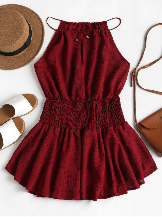 outfit Smocked Waist Cami Dress - RED WINE S