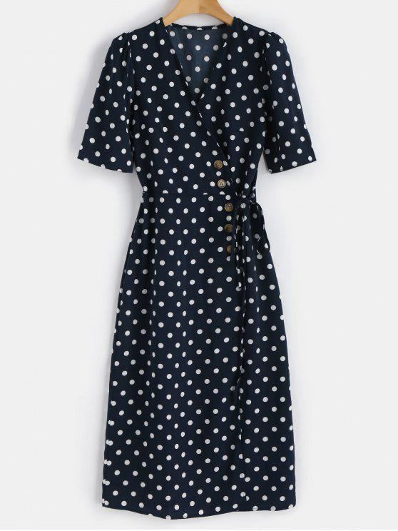 affordable Polka Dot Buttoned Dress - MIDNIGHT BLUE S