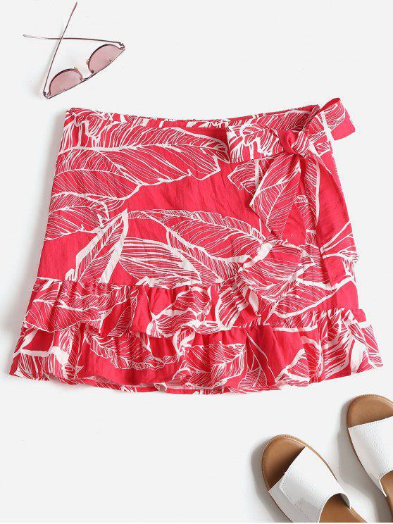 التفاف ورقة الطباعة التفاف التنورة - أحمر L