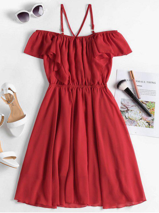 6f7b879f0fdbe 24% OFF  2019 Ruffles Cold Shoulder Mini Dress In RED