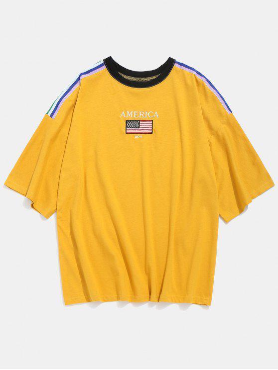 T-shirt rayé de côté de lettre de drapeau américain - Jaune XL