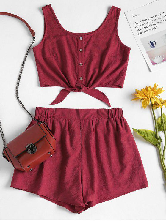 sale Sleeveless Button Up Crop Top and Shorts Set - RED WINE S