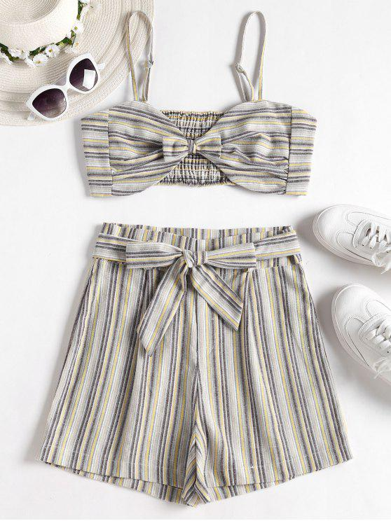 Smocked Stripes Top and Shorts Set - متعدد L