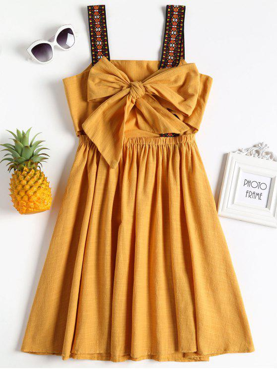 chic Knotted Tassels Mini Dress - BRIGHT YELLOW ONE SIZE