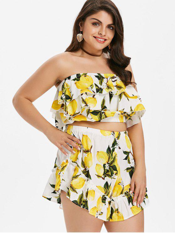 lady Flounce Plus Size Lemon Print Shorts Set - YELLOW L