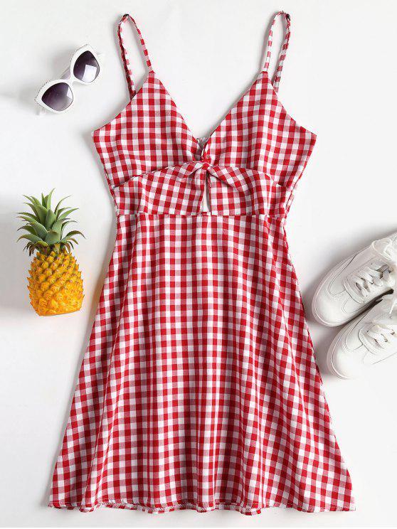 women Twist Gingham Cami Dress - CHERRY RED XL