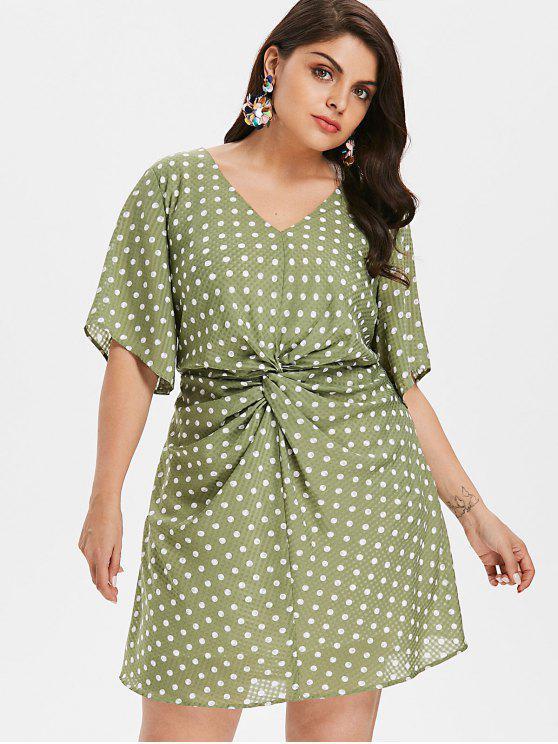 trendy Plus Size Ruched Polka Dot Dress - IGUANA GREEN 2X
