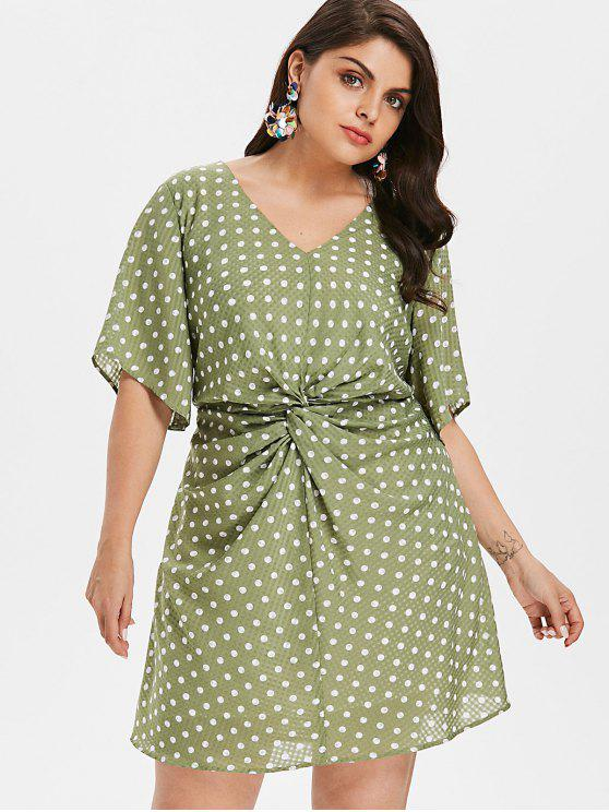 Plus Size Ruched Polka Dot Dress IGUANA GREEN
