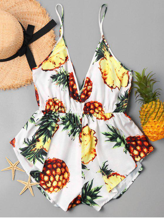 shops Tropical Print Deep Cut Romper - YELLOW M