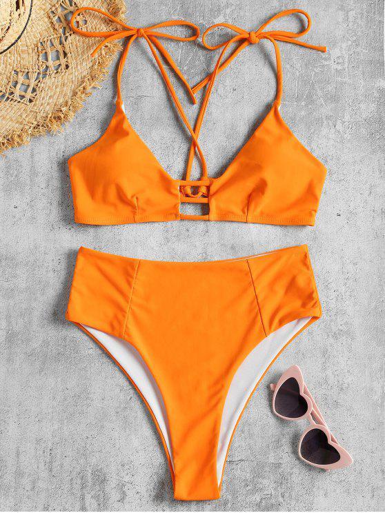 chic Tie Shoulder Cross Back High Waisted Bikini - ORANGE S