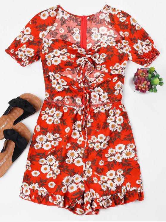 womens Floral Ruffled Hem Tied Romper - RED M