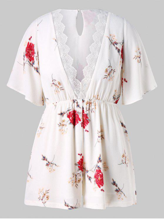 Plus Size Low Cut Floral Romper - Branco 4X
