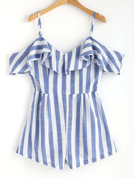 fashion Cami Striped Cold Shoulder Romper - BLUE S